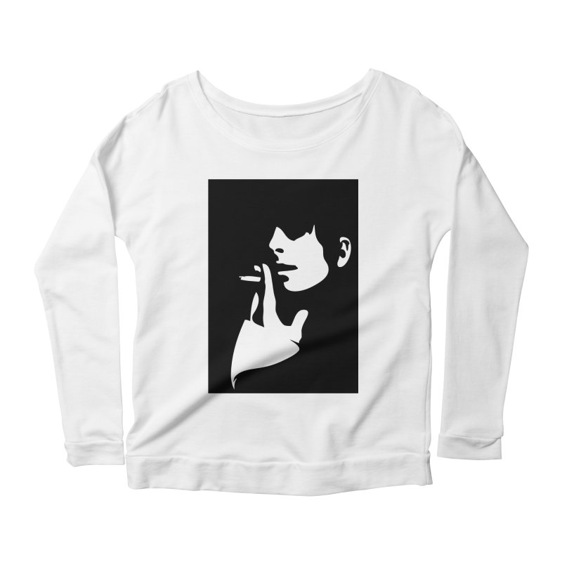 Portrait with Cigarette Women's Scoop Neck Longsleeve T-Shirt by Sasha Mirov's Artist Shop