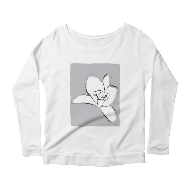 Lily Flower Sketch Women's Scoop Neck Longsleeve T-Shirt by Sasha Mirov's Artist Shop