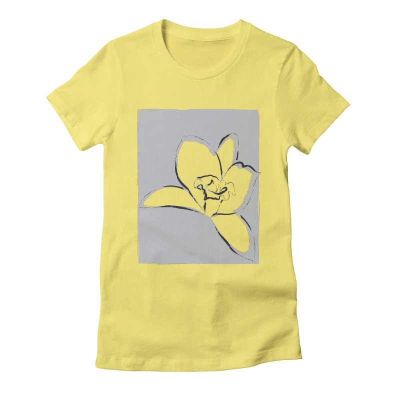 Lily Flower Sketch Women's Fitted T-Shirt by Sasha Mirov's Artist Shop