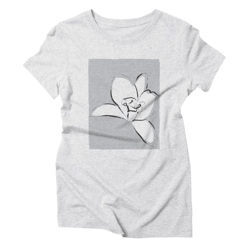Lily Flower Sketch Women's Triblend T-Shirt by Sasha Mirov's Artist Shop