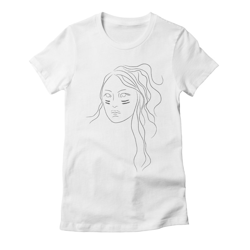 Native American Girl Women's Fitted T-Shirt by Sasha Mirov's Artist Shop