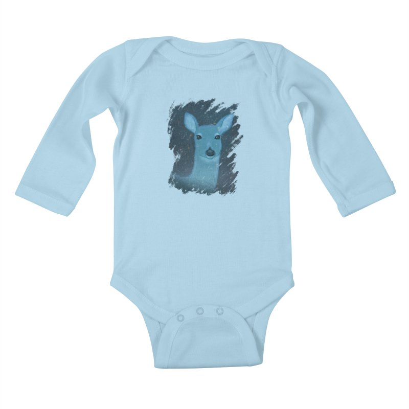 Midnight Deer Kids Baby Longsleeve Bodysuit by satruntwins's Artist Shop