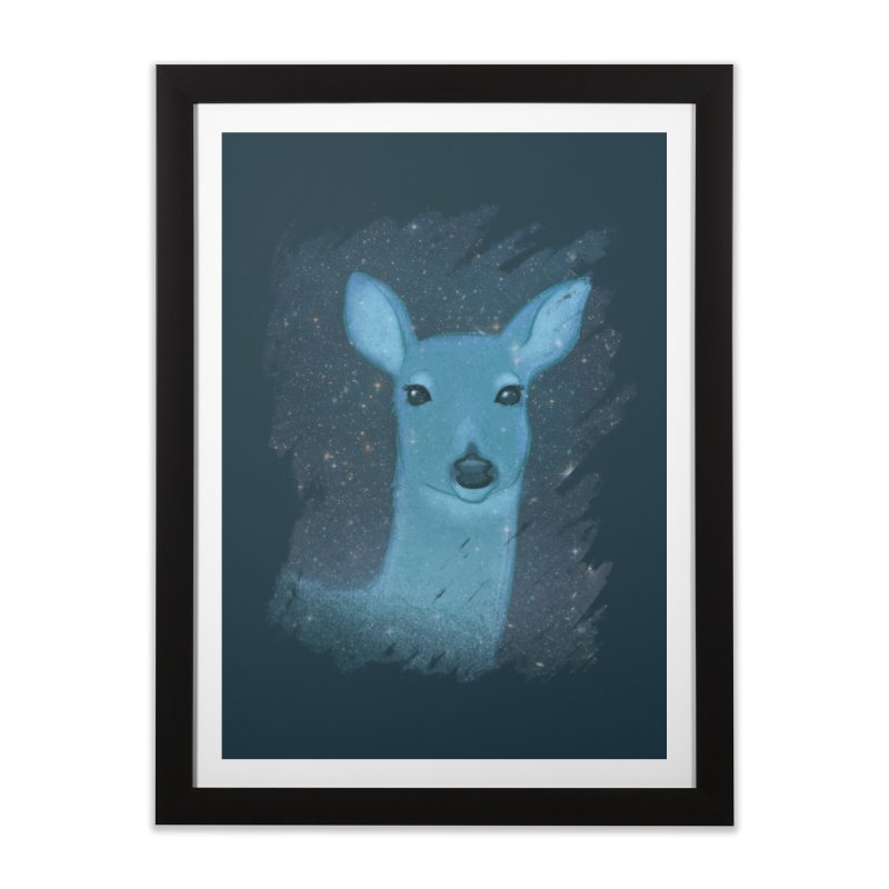 Midnight Deer Home Framed Fine Art Print by satruntwins's Artist Shop
