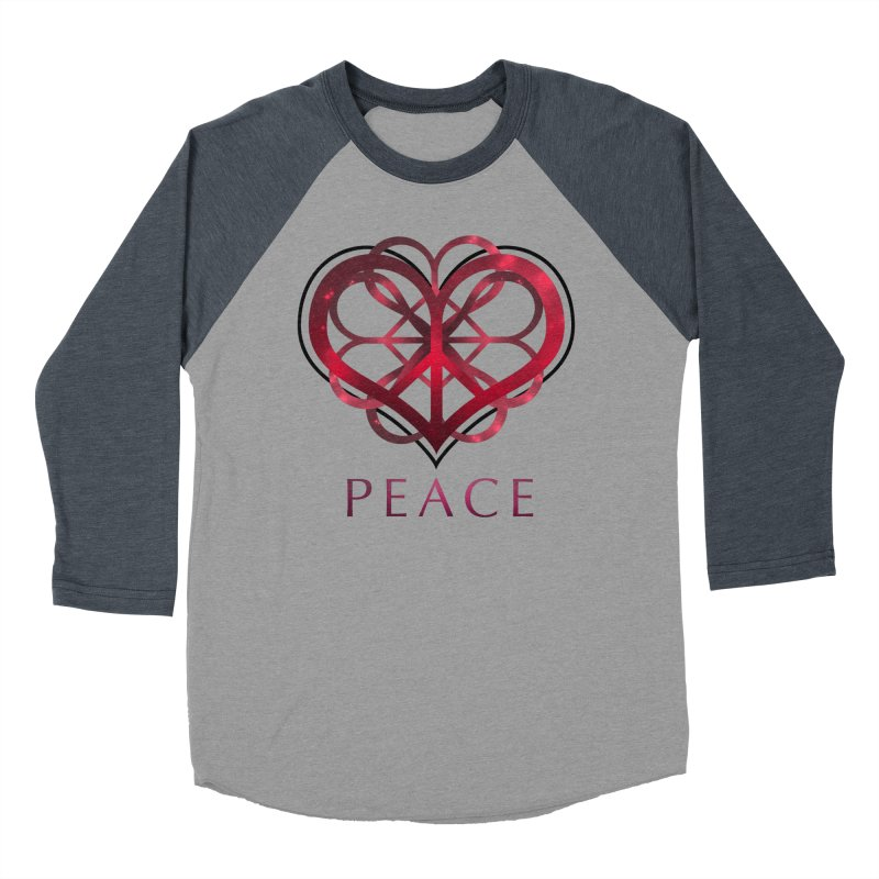 Peace Heart Men's Baseball Triblend T-Shirt by satruntwins's Artist Shop