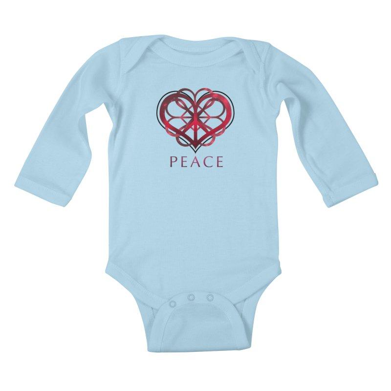 Peace Heart Kids Baby Longsleeve Bodysuit by satruntwins's Artist Shop