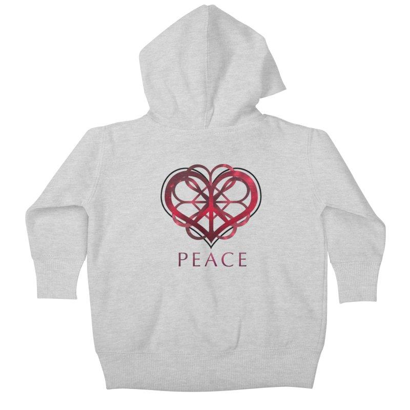 Peace Heart Kids Baby Zip-Up Hoody by satruntwins's Artist Shop