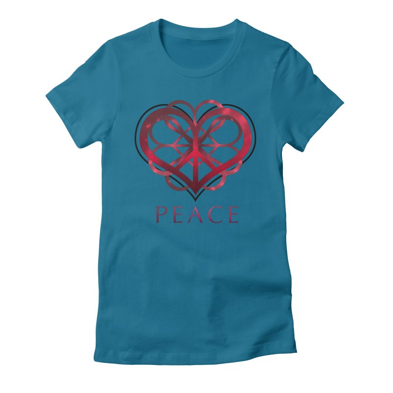 Peace Heart Women's Fitted T-Shirt by satruntwins's Artist Shop