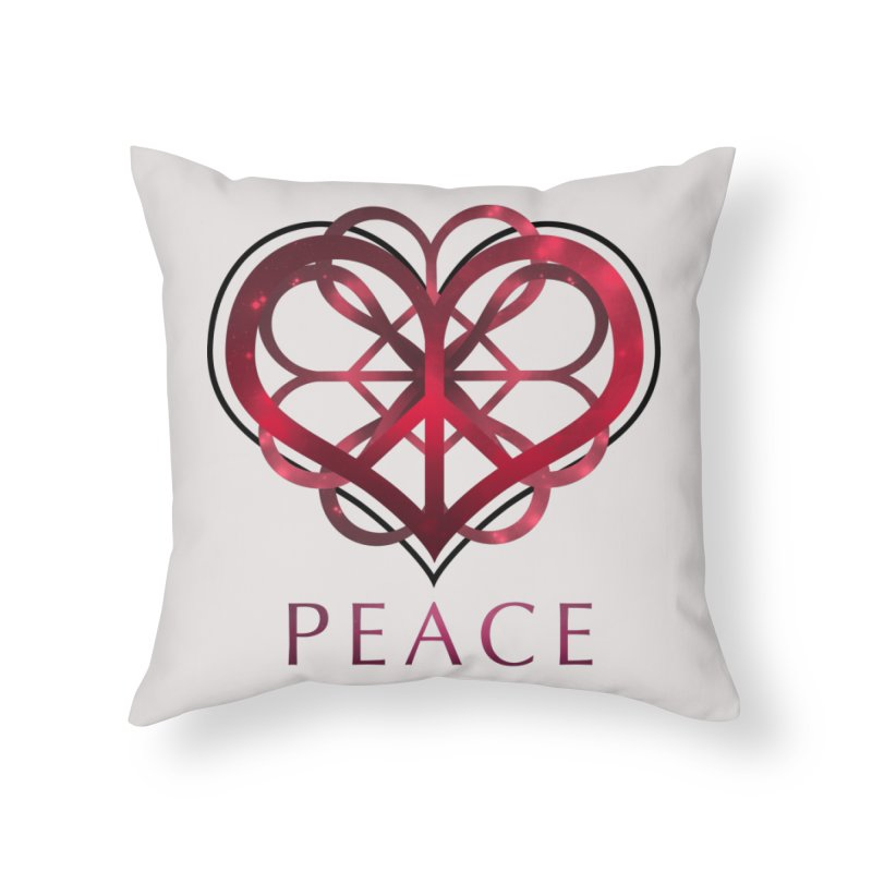 Peace Heart Home Throw Pillow by satruntwins's Artist Shop