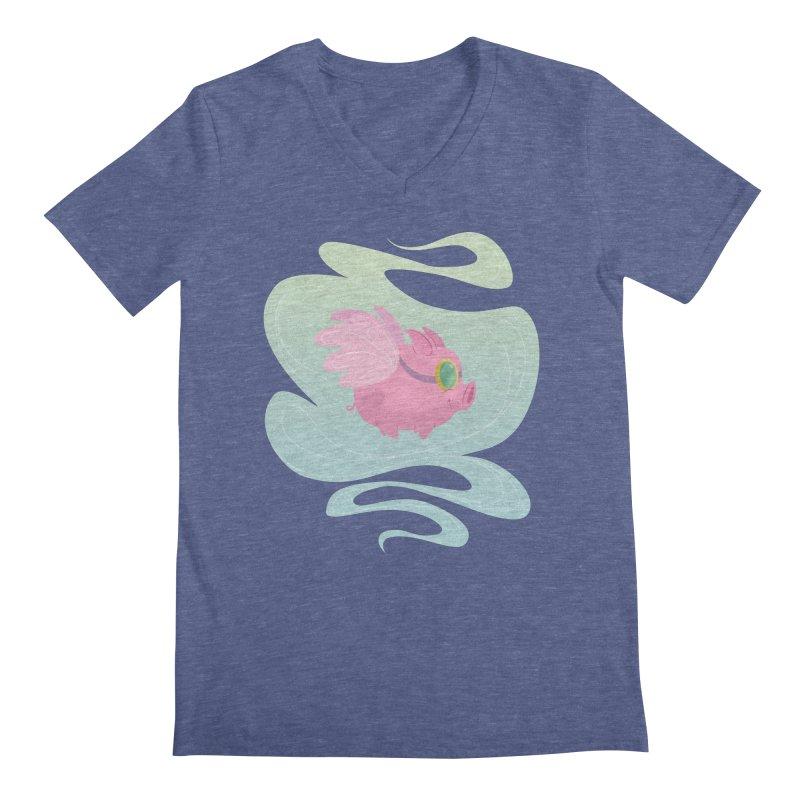 Pink Pig Men's V-Neck by satruntwins's Artist Shop