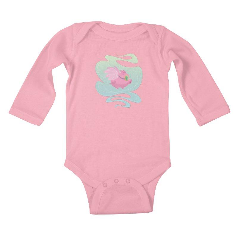 Pink Pig Kids Baby Longsleeve Bodysuit by satruntwins's Artist Shop