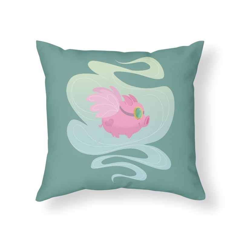 Pink Pig Home Throw Pillow by satruntwins's Artist Shop
