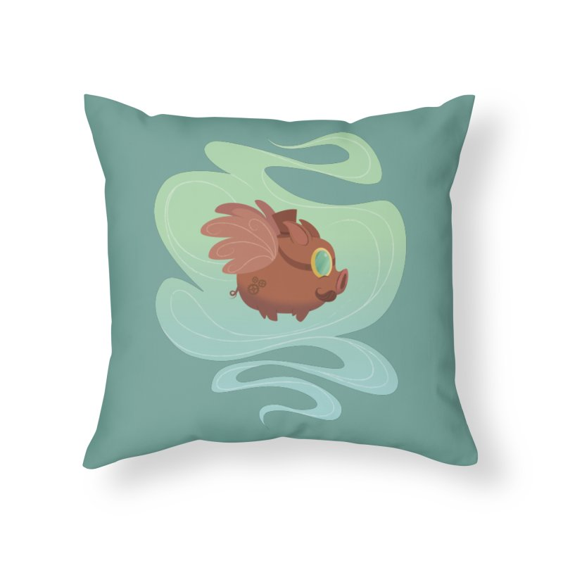 Steampunk Pig Home Throw Pillow by satruntwins's Artist Shop