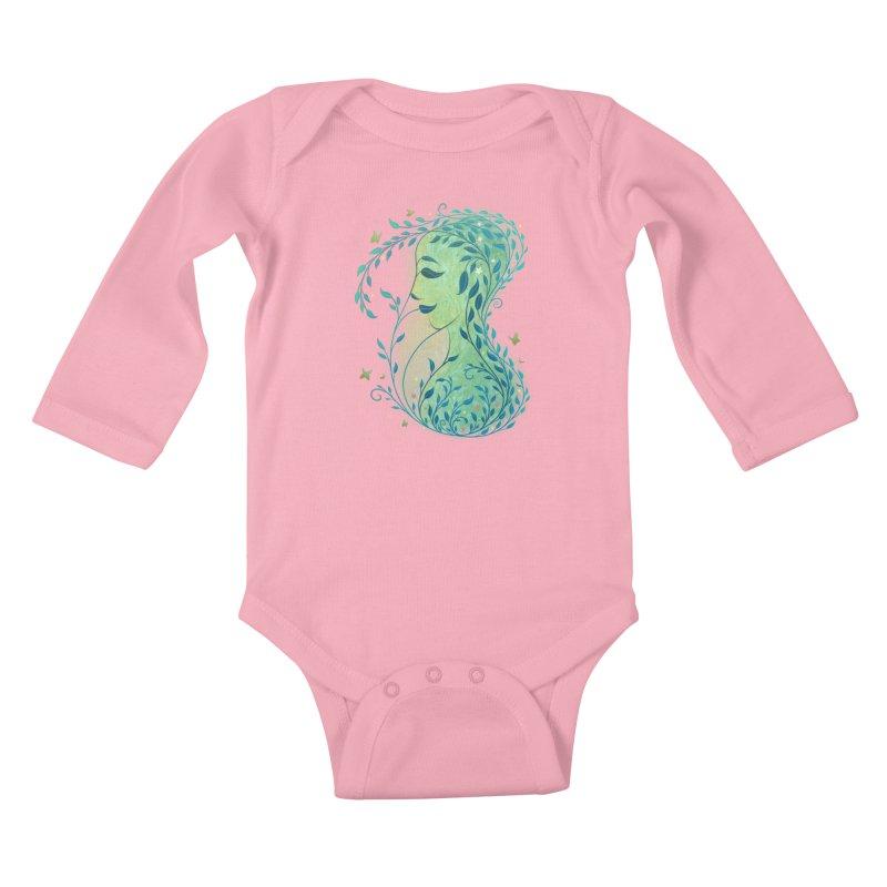 Woman in Leaves Kids Baby Longsleeve Bodysuit by satruntwins's Artist Shop