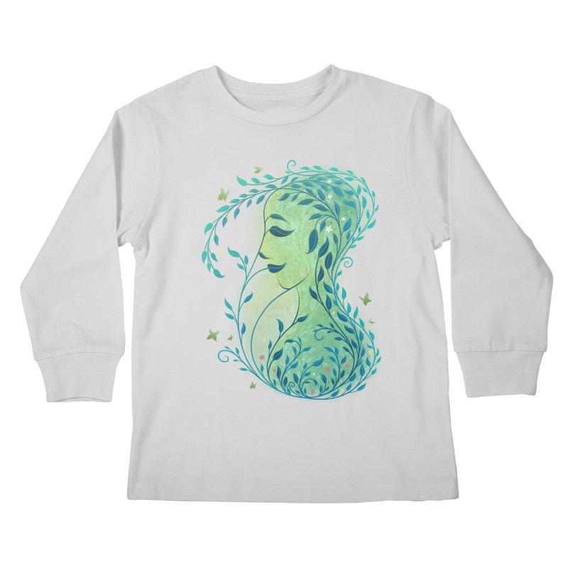 Woman in Leaves Kids Longsleeve T-Shirt by satruntwins's Artist Shop