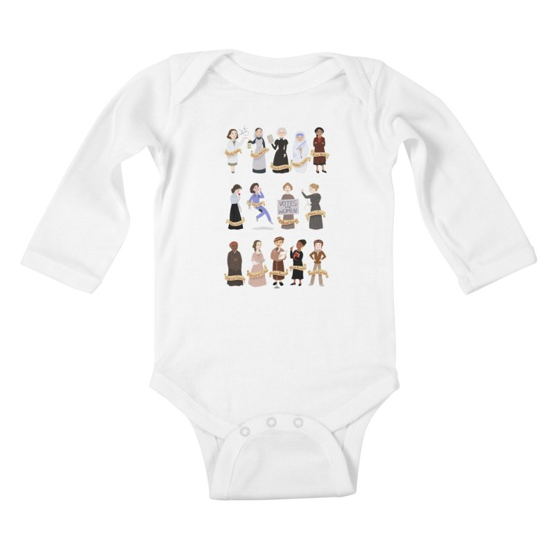 Women in History #1 Kids Baby Longsleeve Bodysuit by satruntwins's Artist Shop