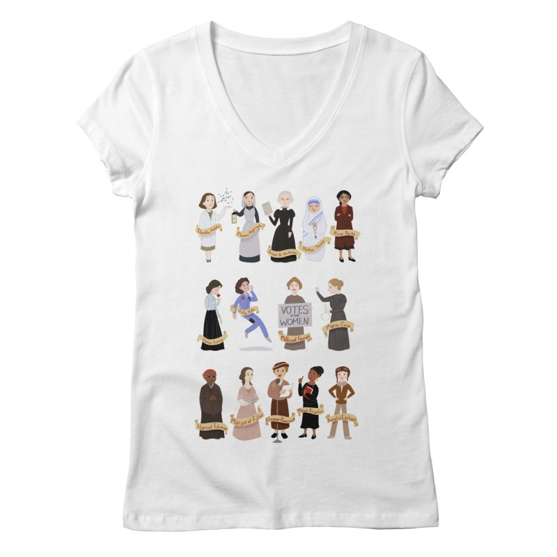 Women in History #1 Women's V-Neck by satruntwins's Artist Shop
