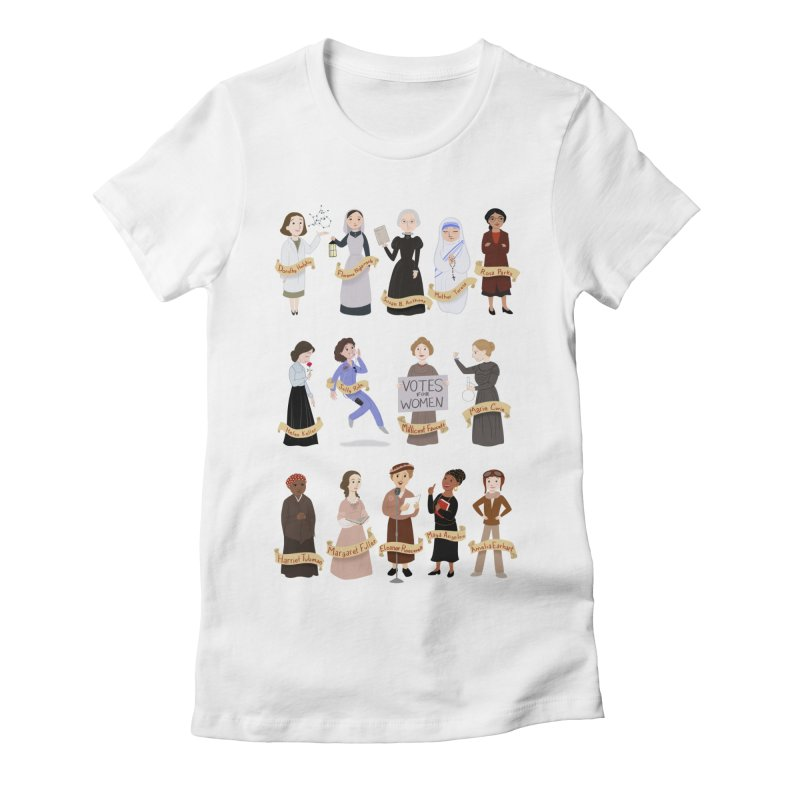 Women in History #1 Women's Fitted T-Shirt by satruntwins's Artist Shop