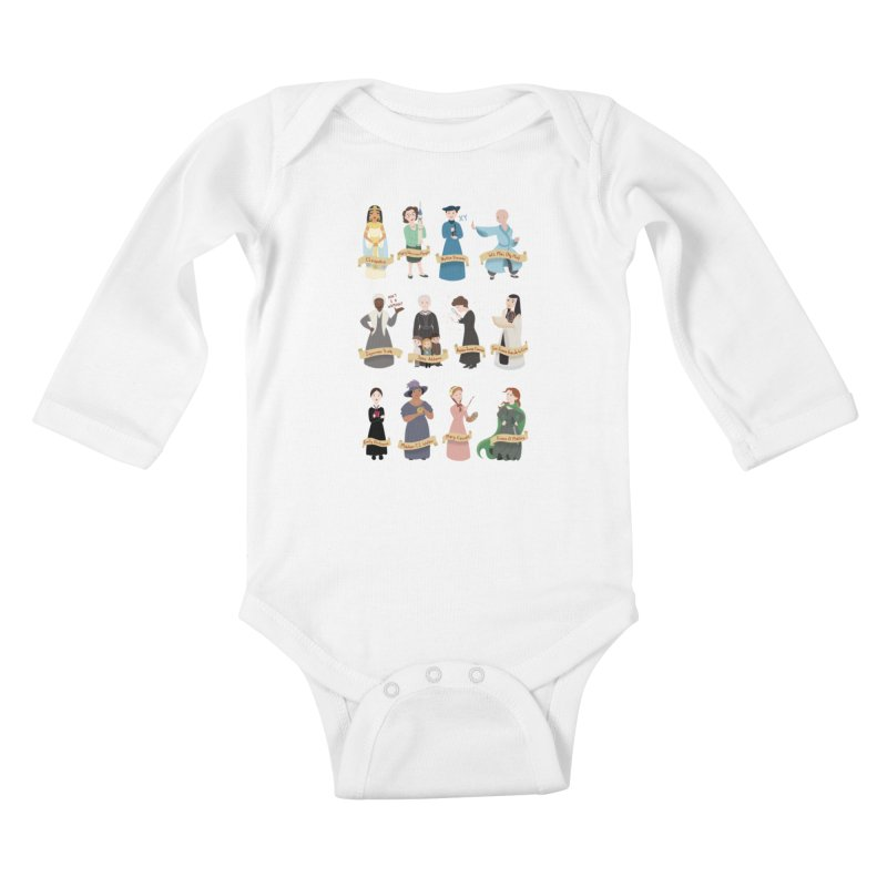 Women in History #3 Kids Baby Longsleeve Bodysuit by satruntwins's Artist Shop
