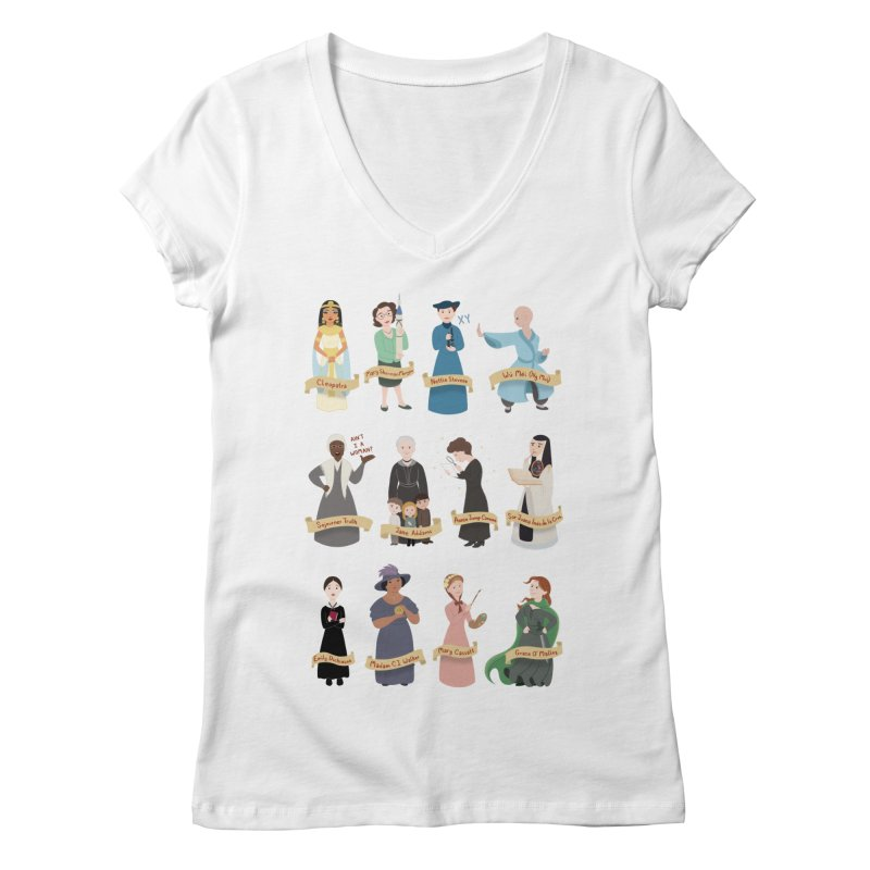 Women in History #3 Women's V-Neck by satruntwins's Artist Shop