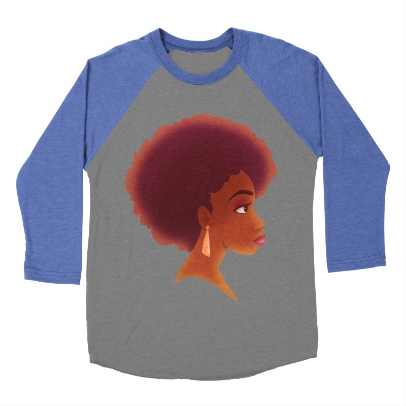 Woman in Profile Men's Baseball Triblend T-Shirt by satruntwins's Artist Shop