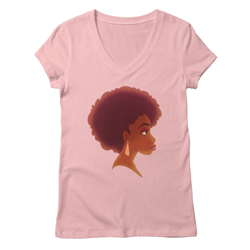Woman in Profile Women's V-Neck by satruntwins's Artist Shop