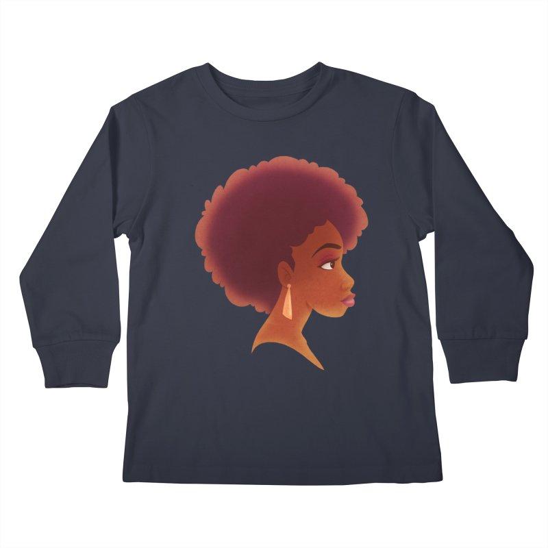 Woman in Profile Kids Longsleeve T-Shirt by satruntwins's Artist Shop