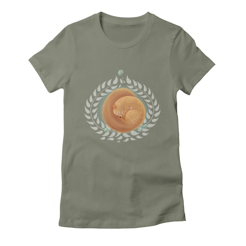 Sleeping Squirrel Women's Fitted T-Shirt by satruntwins's Artist Shop