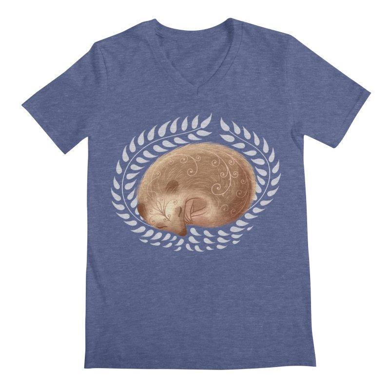 Sleeping Hedgehog Men's V-Neck by satruntwins's Artist Shop
