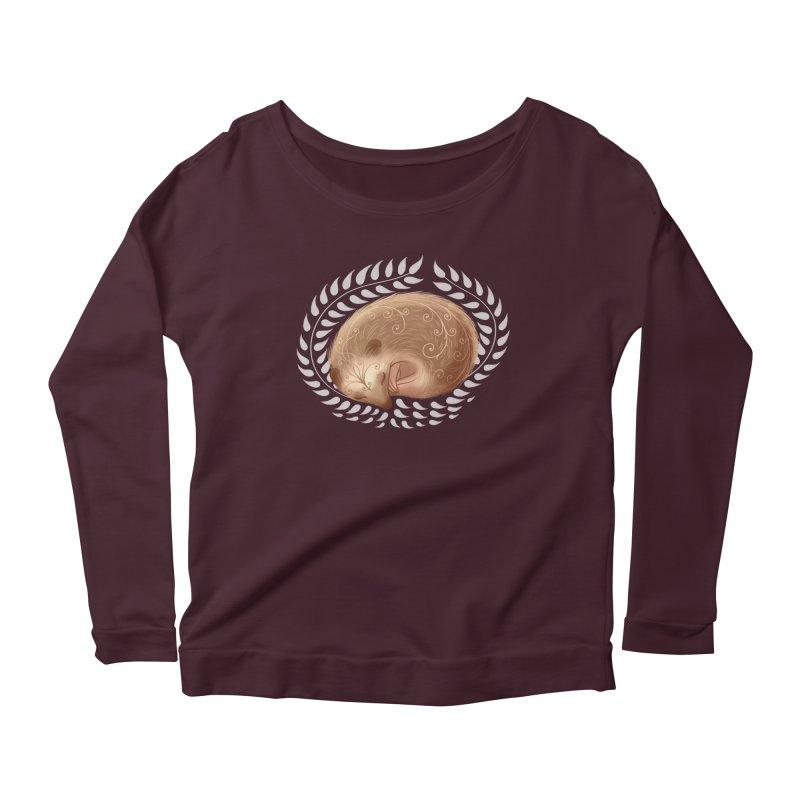 Sleeping Hedgehog Women's Longsleeve Scoopneck  by satruntwins's Artist Shop