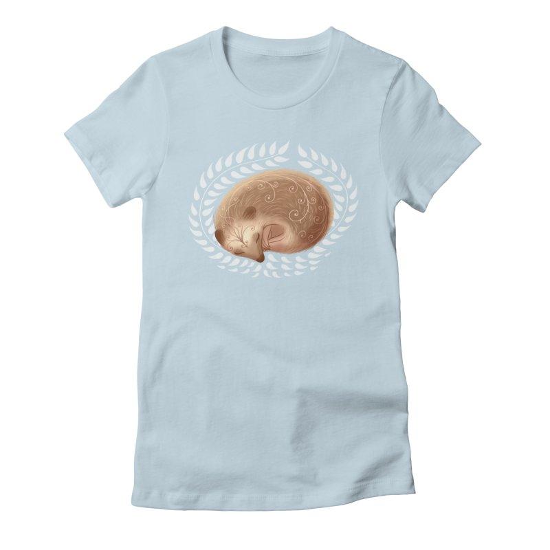Sleeping Hedgehog Women's Fitted T-Shirt by satruntwins's Artist Shop