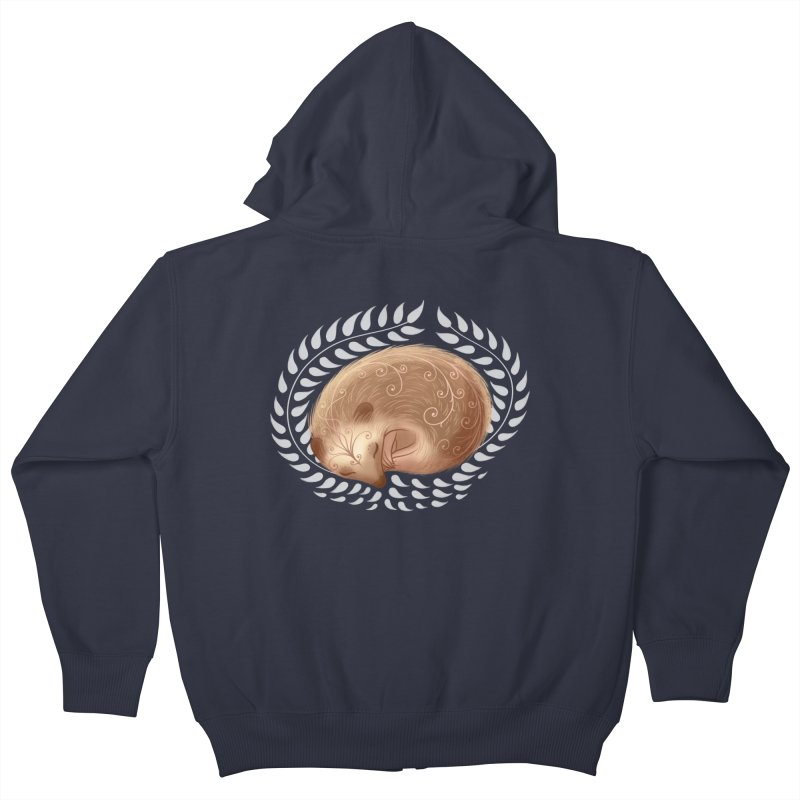 Sleeping Hedgehog Kids Zip-Up Hoody by satruntwins's Artist Shop