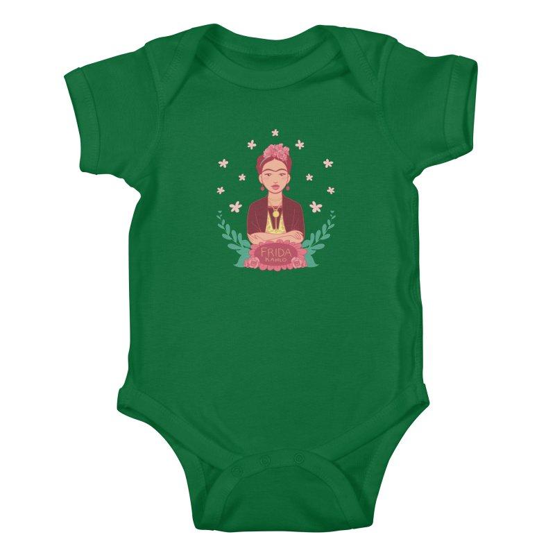Frida Kids Baby Bodysuit by satruntwins's Artist Shop