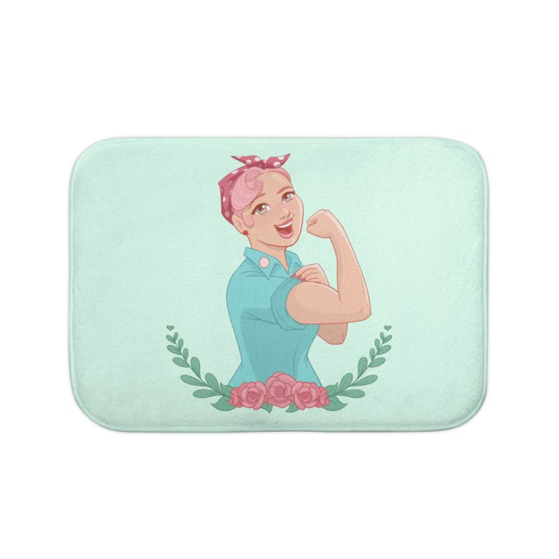 Pink Rosie Home Bath Mat by satruntwins's Artist Shop