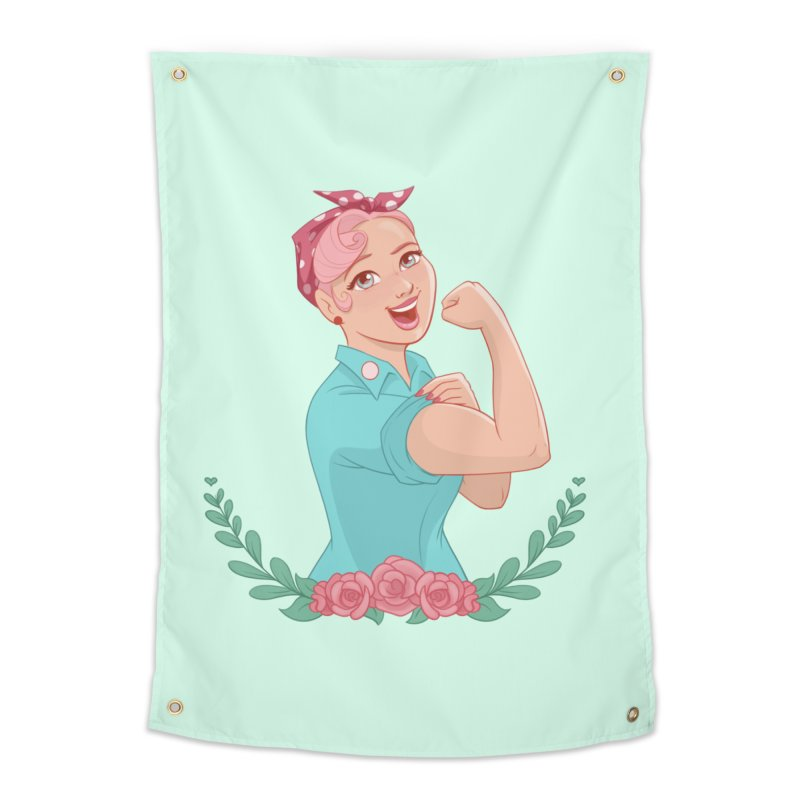 Pink Rosie Home Tapestry by satruntwins's Artist Shop