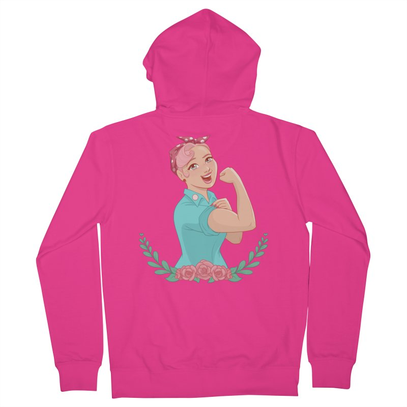 Pink Rosie Men's Zip-Up Hoody by satruntwins's Artist Shop