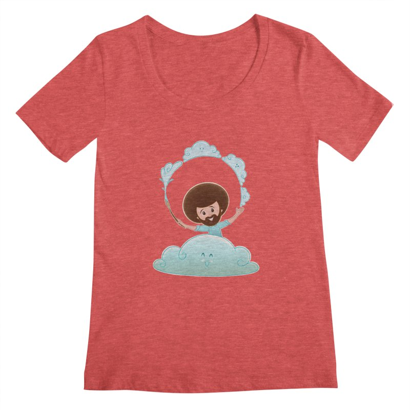Happy Clouds! Women's Scoopneck by satruntwins's Artist Shop