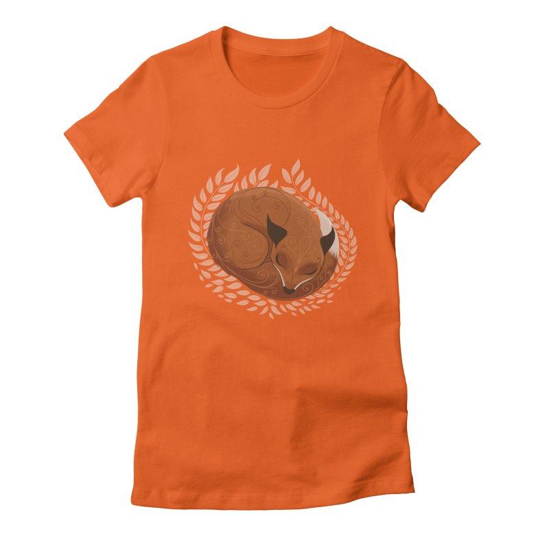 Sleeping Fox Women's Fitted T-Shirt by satruntwins's Artist Shop