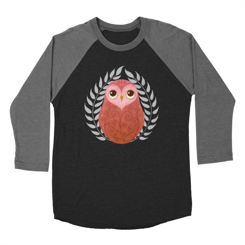 Pink Owl Men's Baseball Triblend T-Shirt by satruntwins's Artist Shop