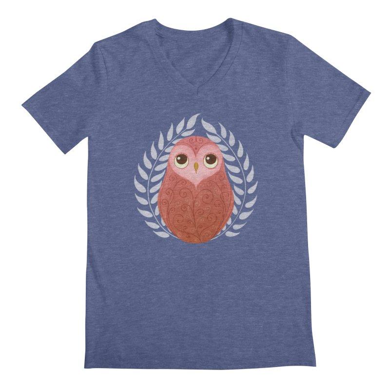 Pink Owl Men's V-Neck by satruntwins's Artist Shop