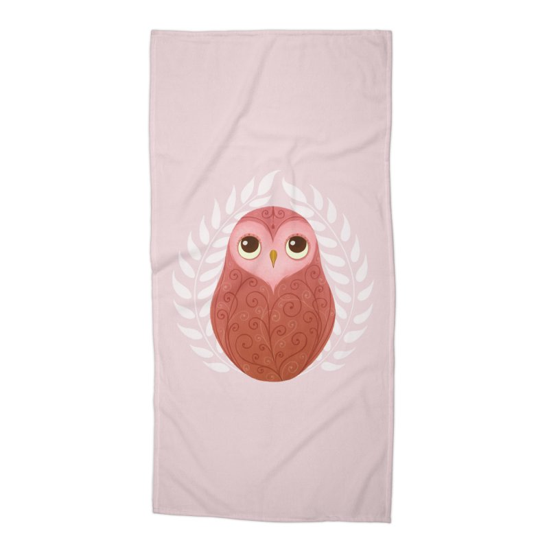 Pink Owl Accessories Beach Towel by satruntwins's Artist Shop