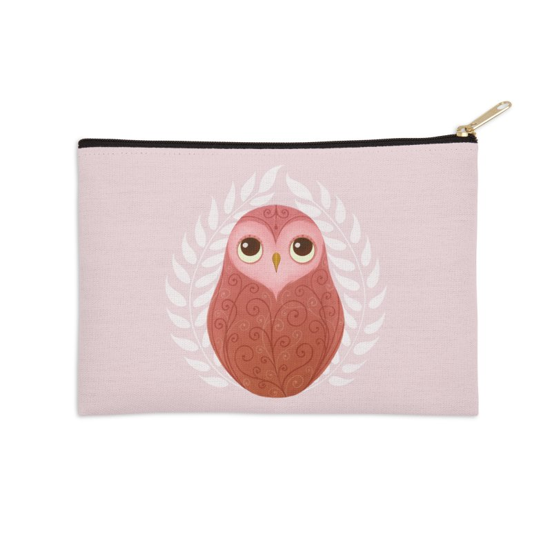 Pink Owl Accessories Zip Pouch by satruntwins's Artist Shop