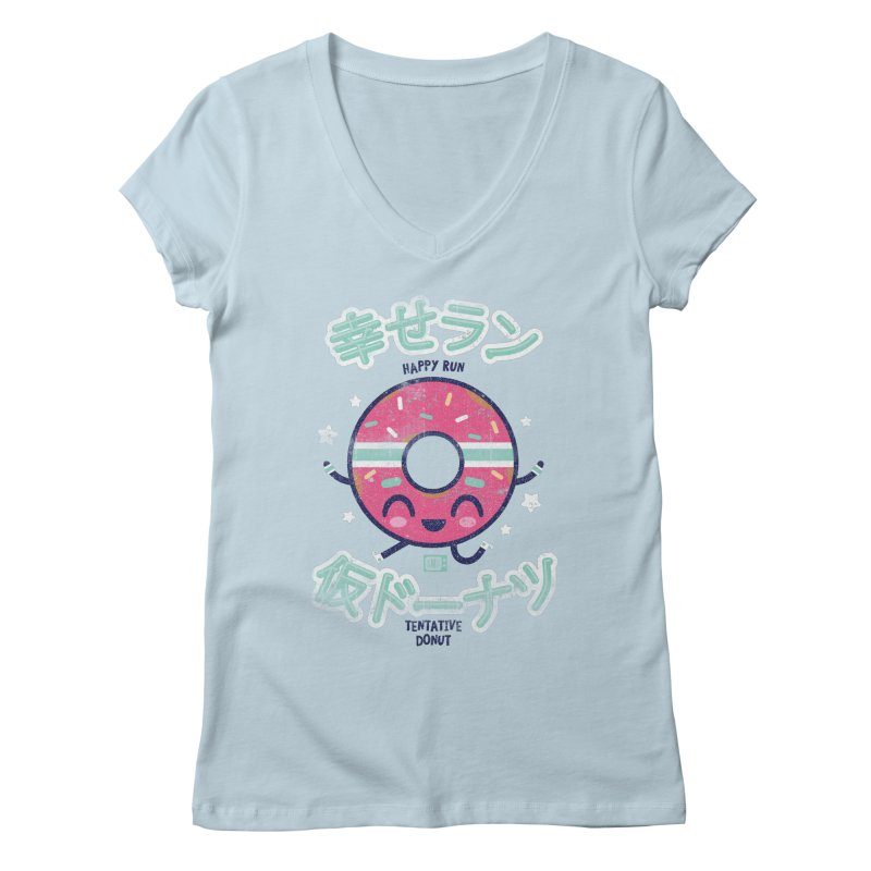 Happy Run Donut Women's V-Neck by Saturday Morning Society