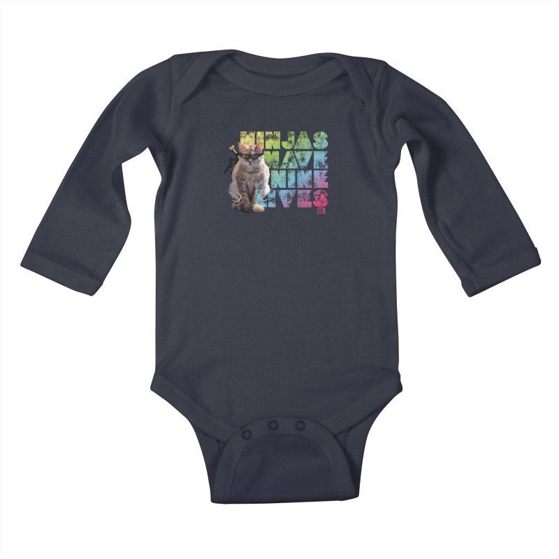 Ninjas Have Nine Lives Kids Baby Longsleeve Bodysuit by Saturday Morning Society