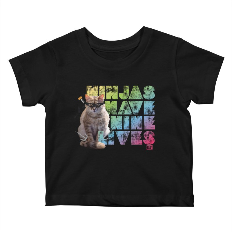 Ninjas Have Nine Lives Kids Baby T-Shirt by Saturday Morning Society