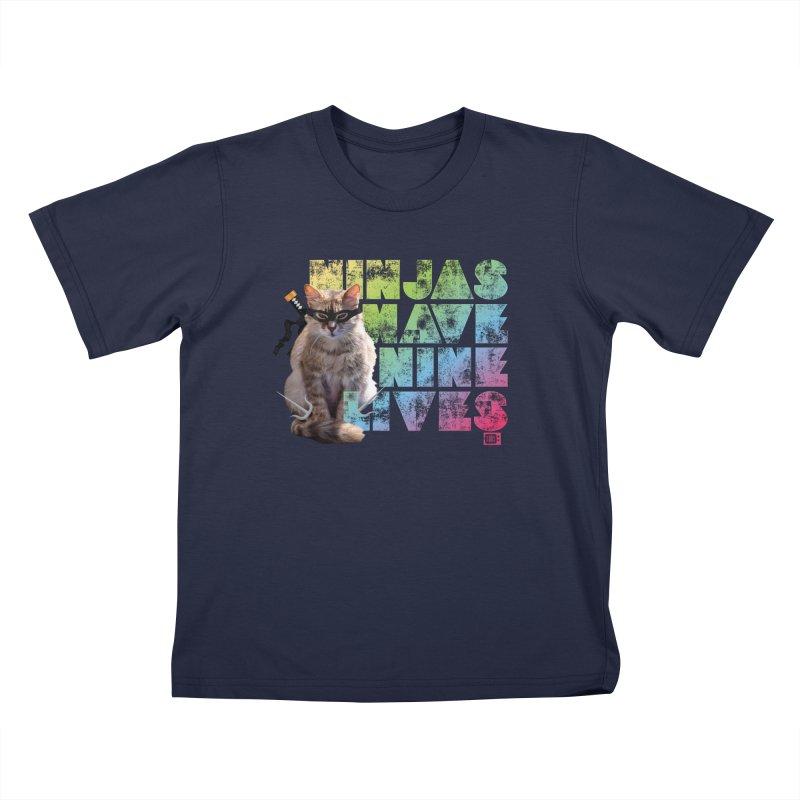 Ninjas Have Nine Lives Kids T-Shirt by Saturday Morning Society