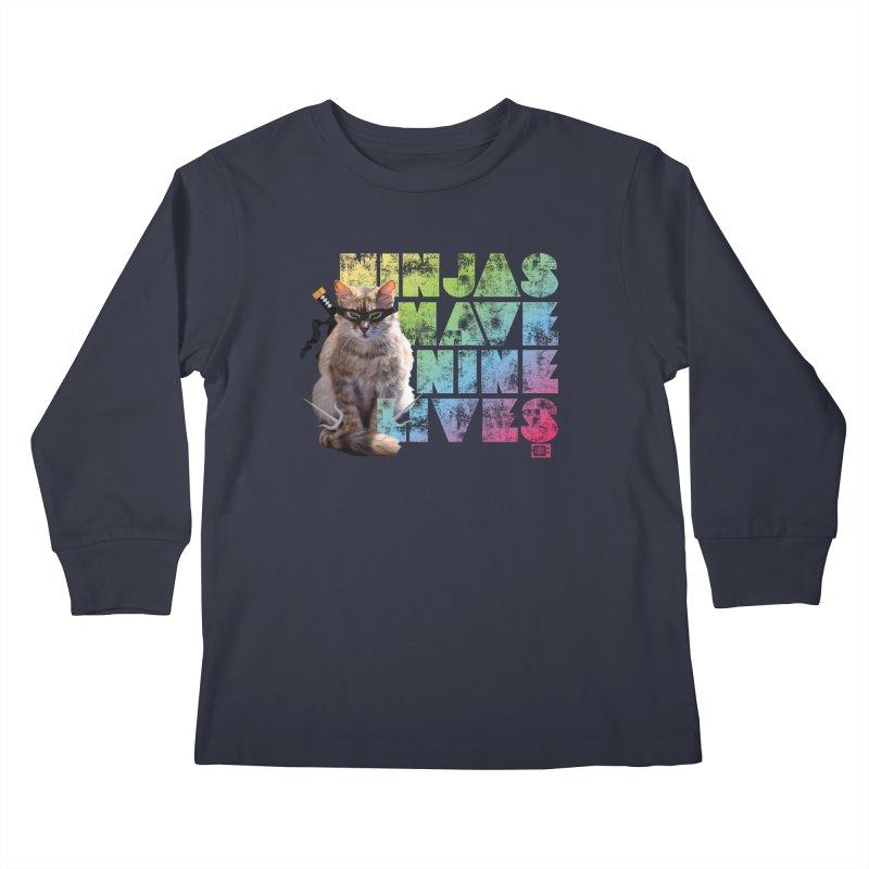 Ninjas Have Nine Lives Kids Longsleeve T-Shirt by Saturday Morning Society