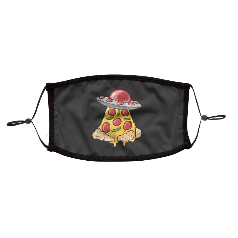 UFO Pizza Spaceship Accessories Face Mask by Saucy Robot