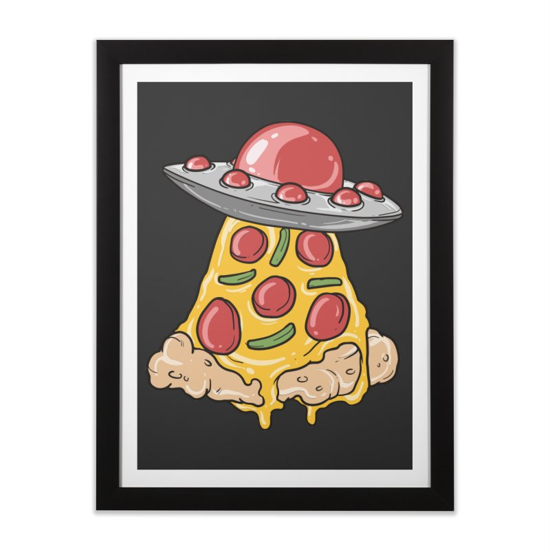 UFO Pizza Spaceship Home Framed Fine Art Print by Saucy Robot