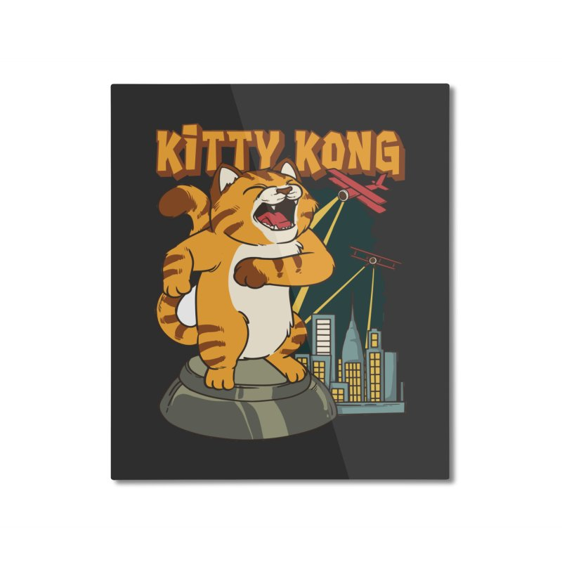 Kitty Kong Home Mounted Aluminum Print by Saucy Robot