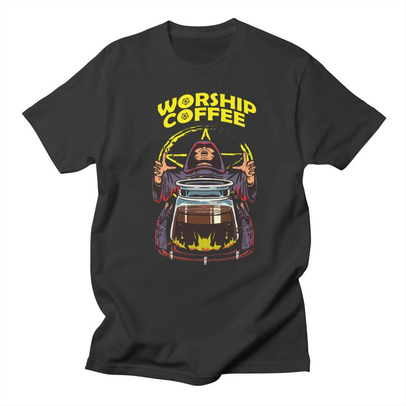 Worship Coffee Men's T-Shirt by Saucy Robot